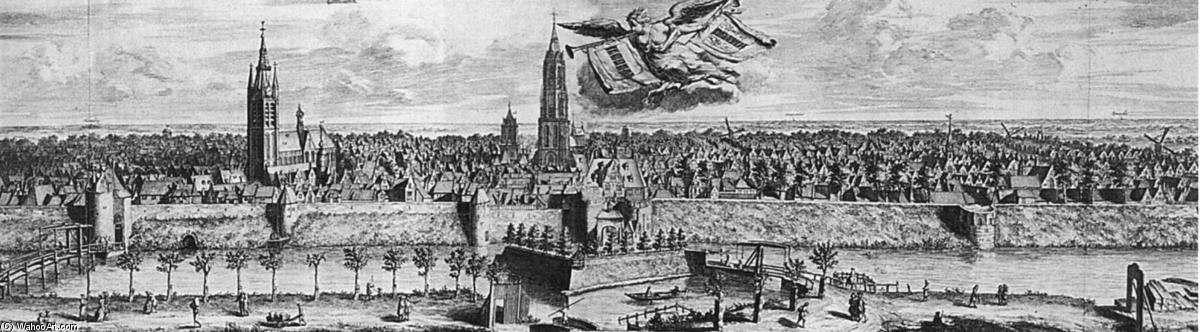 Profile of Delft, Etching by Coenraet Decker (1650-1685, Netherlands)