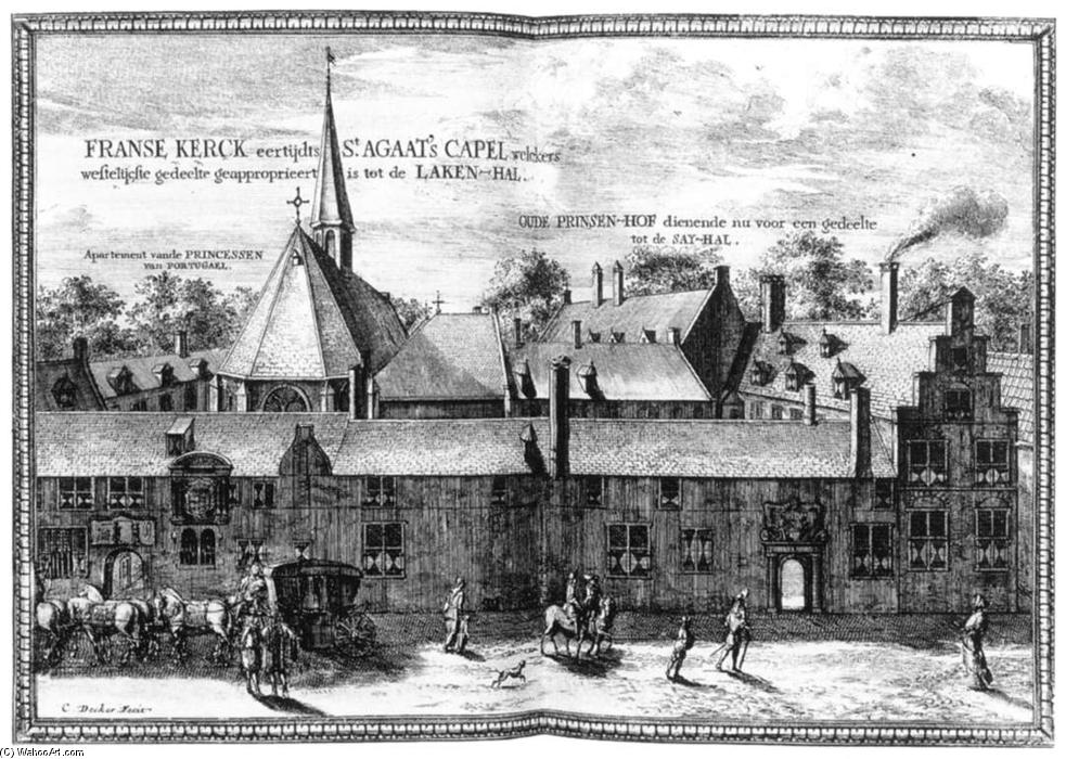 The Convent of St Agatha and Prinsenhof in Delft, Engraving by Coenraet Decker (1650-1685, Netherlands)