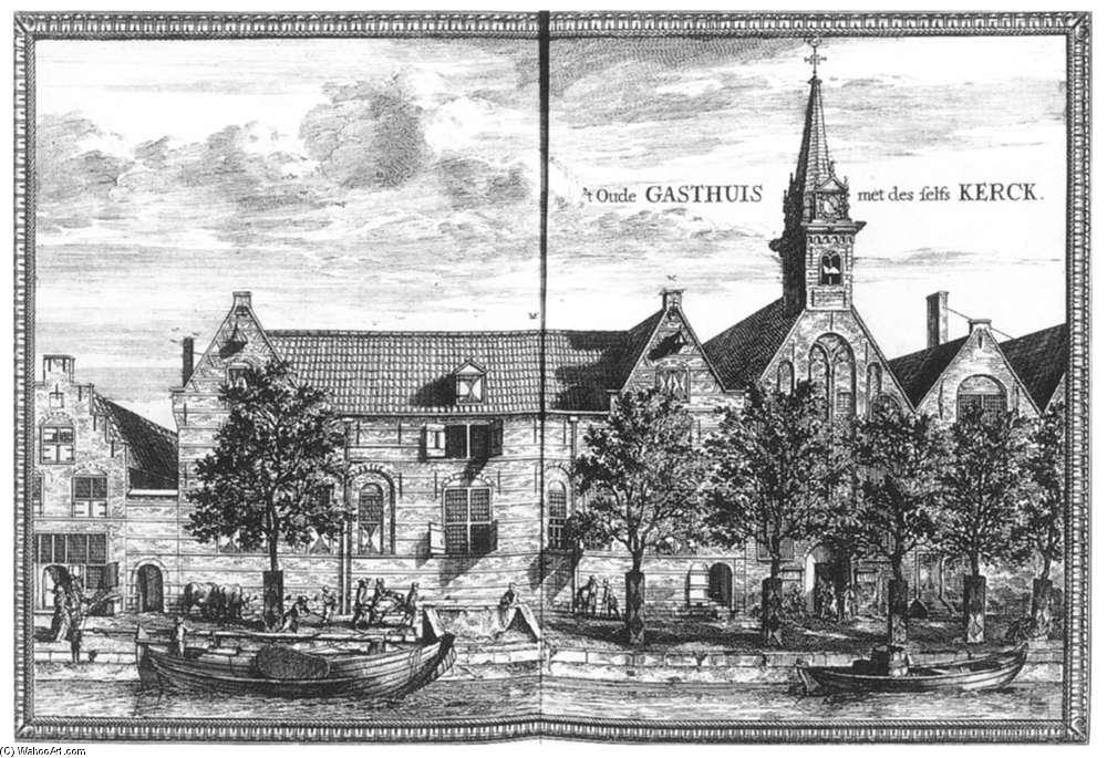 View of the Oude Gasthuis (Old Hospital) of Delft, Engraving by Coenraet Decker (1650-1685, Netherlands)