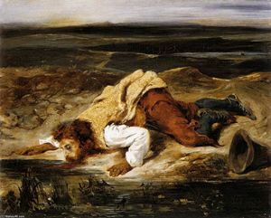 Eugène Delacroix - A Mortally Wounded Brigand Quenches his Thirst