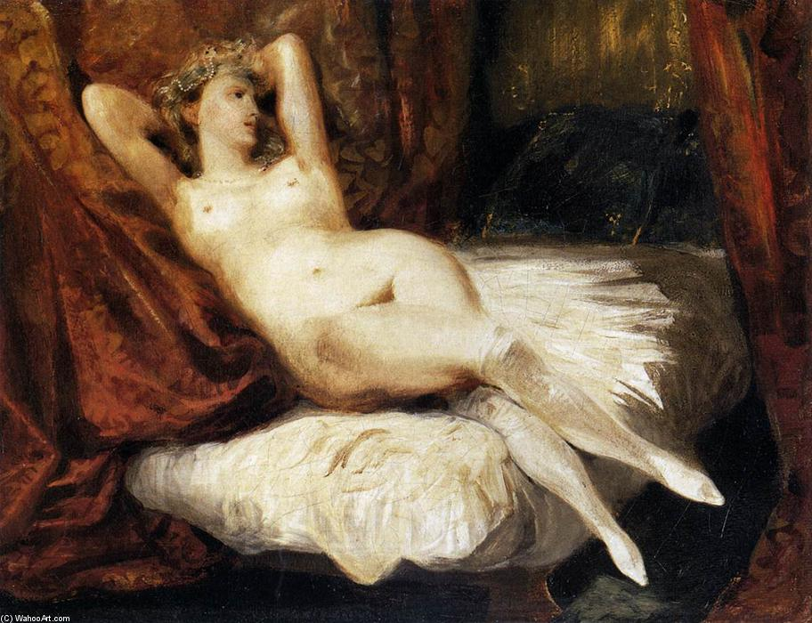 Female Nude Reclining on a Divan, Oil On Canvas by Eugène Delacroix (1798-1863, France)