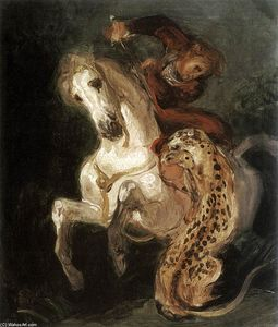 Eugène Delacroix - Jaguar Attacking a Horseman