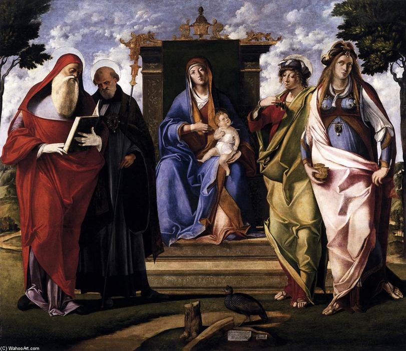 Virgin and Child Enthroned with Saints, 1515 by Benedetto Diana (1460-1525, Italy) | Art Reproduction | WahooArt.com