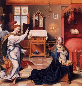 Order Reproductions | The Annunciation, 1525 by Joos Van Cleve (1485-1540, Germany) | WahooArt.com