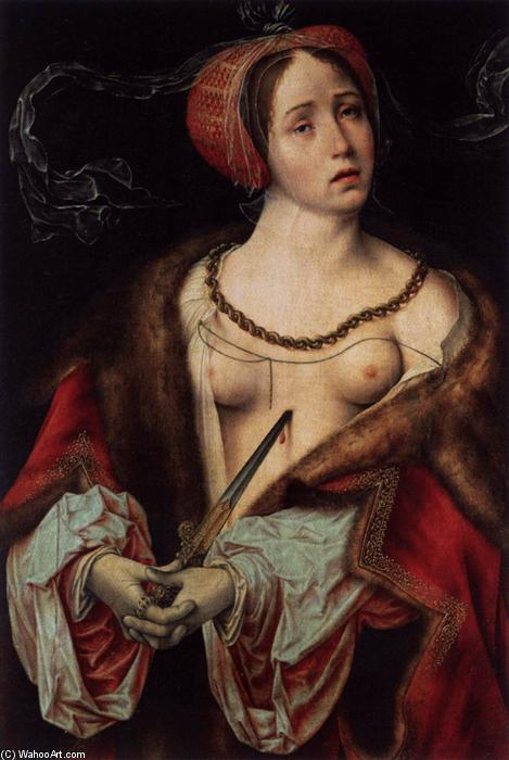 The Suicide of Lucretia, 1520 by Joos Van Cleve (1485-1540, Germany) | Painting Copy | WahooArt.com