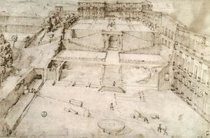 Giovanni Antonio Dosio - Belvedere Courtyard in the Vatican Palace