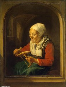 Gerrit (Gérard) Dou - Old Woman Unreeling Threads