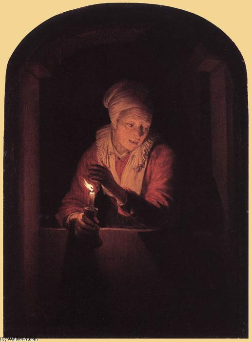 Old Woman with a Candle, 1661 by Gerrit (Gérard) Dou (1613-1675, Netherlands) | Museum Quality Reproductions | WahooArt.com