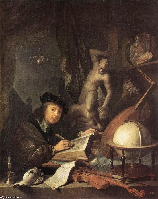 Painter in his Studio, 1647 by Gerrit (Gérard) Dou (1613-1675, Netherlands) | Art Reproduction | WahooArt.com