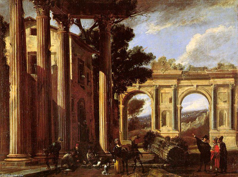 Architectural View, 1627 by Viviano Codazzi (1604-1670, Italy) | Painting Copy | WahooArt.com