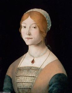 Lorenzo Costa (The Elder) - Portrait of a Woman with a Pearl Necklace