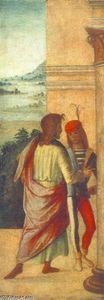 Lorenzo Costa (The Elder) - Two Young Man at a Column (detail)