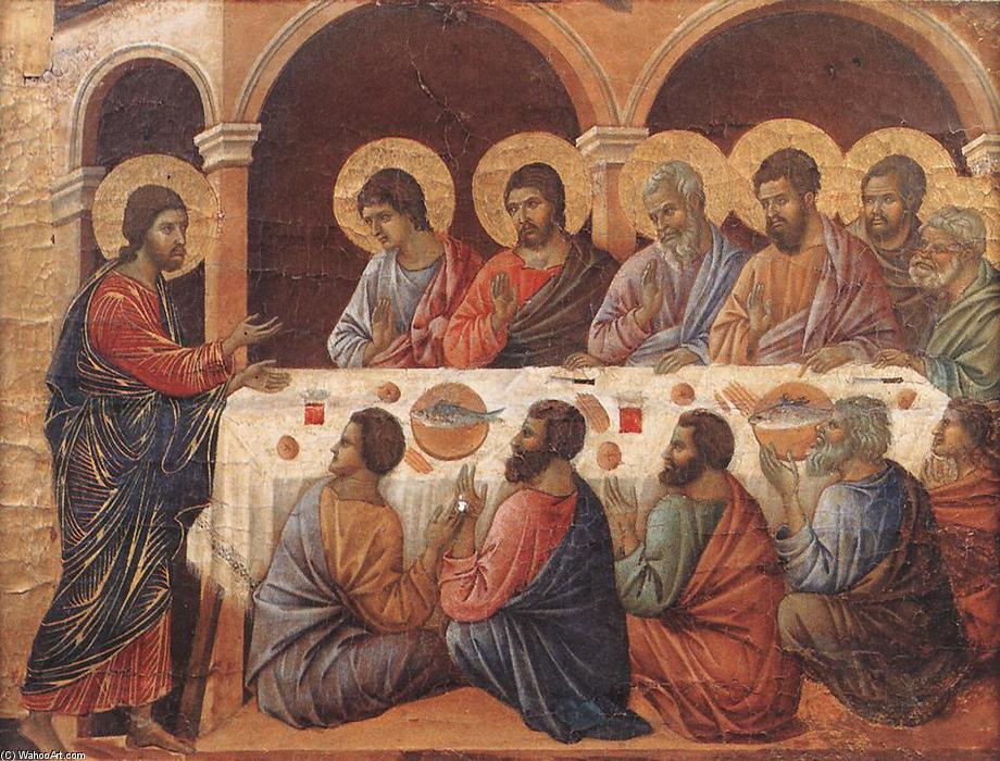 Appearence While the Apostles are at Table, Tempera by Duccio Di Buoninsegna (1255-1319, Italy)