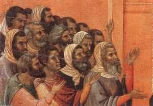 Duccio Di Buoninsegna - Christ Accused by the Pharisees (detail)