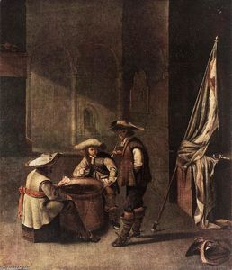 Jacob Duck - Guardroom with Soldiers Playing Cards