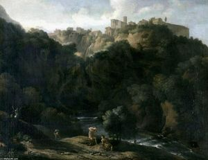 Gaspard Dughet - A View of Tivoli, with the Teverone Flowing Beneath