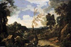 Gaspard Dughet - Landscape with St Jerome and the Lion