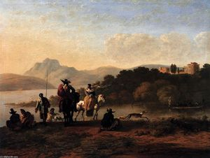 Karel Dujardin - Italian Landscape with Elegant Riders and Fishermen