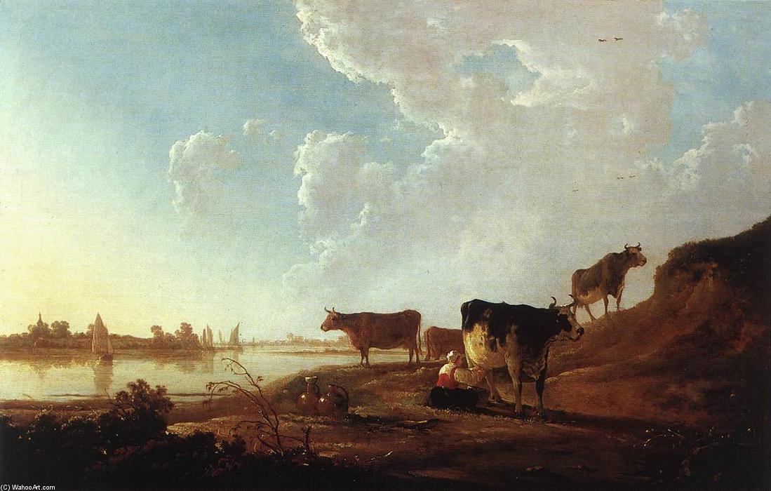 River Scene with Milking Woman, 1646 by Aelbert Jacobsz Cuyp (1620-1695, Netherlands) | Museum Quality Copies Aelbert Jacobsz Cuyp | WahooArt.com