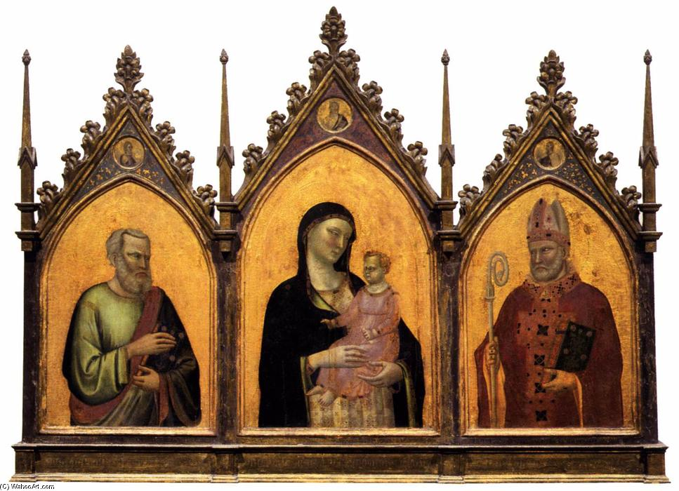 Madonna and Child with Sts Matthew and Nicholas, Tempera by Bernardo Daddi (1290-1348, Italy)