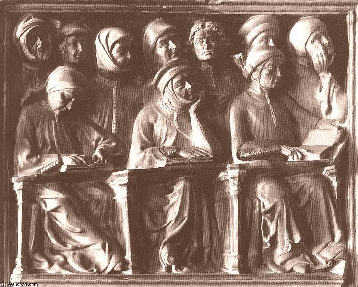 Students, detail of the Tomb of Giovanni da Legnano, Marble by Jacobello Dalle Masegne (1350-1409, Italy)