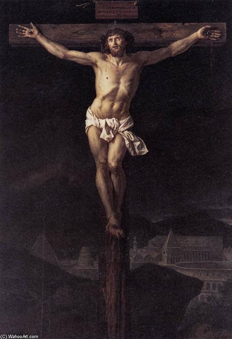 Christ on the Cross, Oil On Canvas by Jacques Louis David (1748-1800, France)