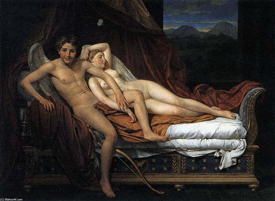 Cupid and Psyche, Oil On Canvas by Jacques Louis David (1748-1800, France)