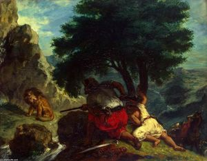 Eugène Delacroix - Lion Hunt in Morocco