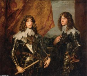 Anthony Van Dyck - Portrait of the Princes Palatine Charles-Louis I and his Brother Robert
