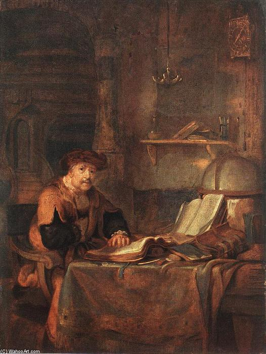 Scholar with his Books, 1671 by Gerbrand Van Den Eeckhout (1621-1674, Netherlands) | Museum Quality Reproductions | WahooArt.com