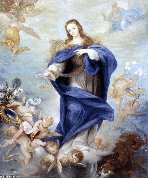 Immaculate Conception, Oil On Canvas by Juan Antonio Frias Y Escalante (1633-1669, Spain)