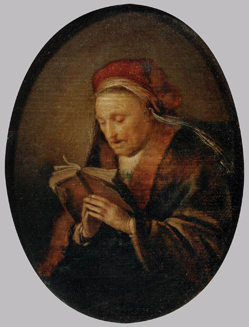 Old Woman Praying, 1640 by Gerrit (Gérard) Dou (1613-1675, Netherlands) | Famous Paintings Reproductions | WahooArt.com