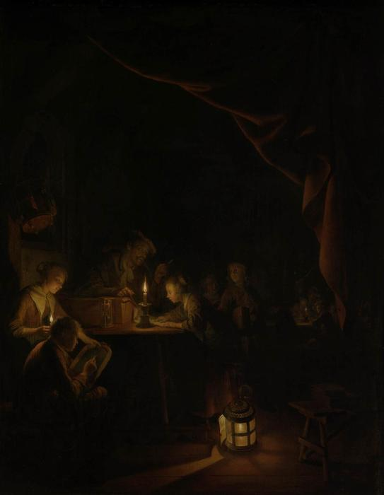 The Night School, 1660 by Gerrit (Gérard) Dou (1613-1675, Netherlands) | Museum Quality Reproductions | WahooArt.com