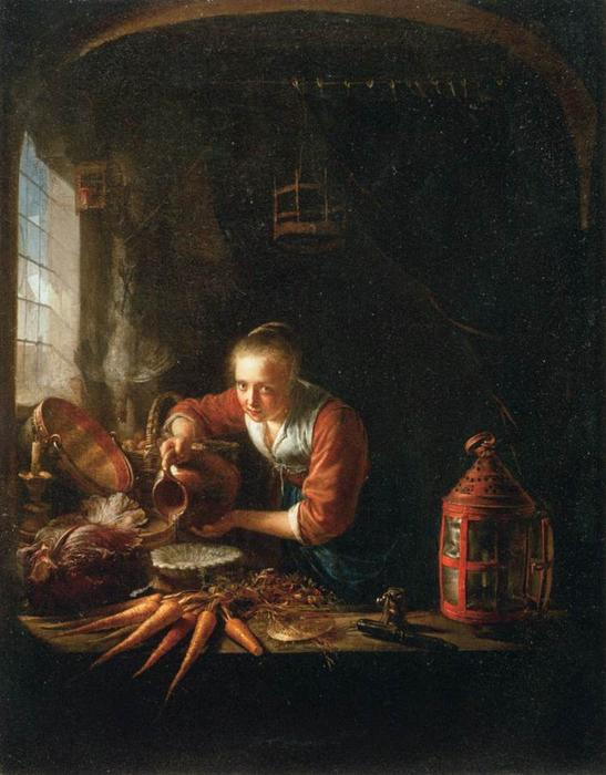 Woman Pouring Water into a Jar, 1640 by Gerrit (Gérard) Dou (1613-1675, Netherlands) | Museum Quality Reproductions | WahooArt.com