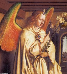 Jan Van Eyck - The Ghent Altarpiece: Angel of the Annunciation (detail)