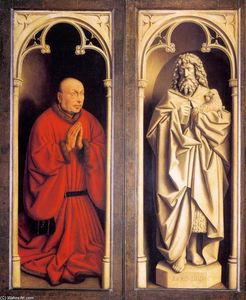 Jan Van Eyck - The Ghent Altarpiece: Donor and St John the Baptist
