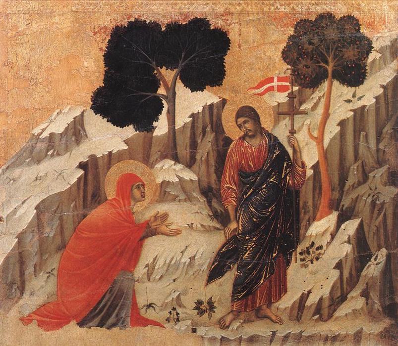 Appearence to Mary Magdalene (Noli me tangere), Tempera by Duccio Di Buoninsegna (1255-1319, Italy)