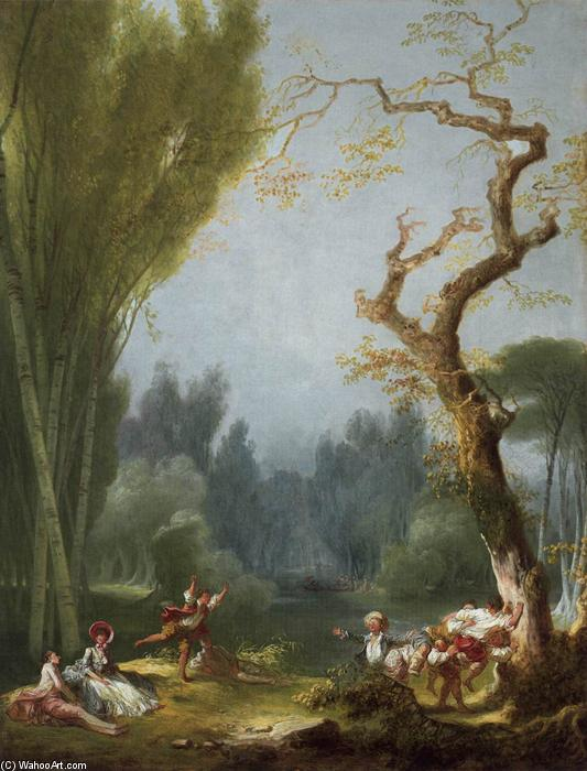 A Game of Horse and Rider, 1775 by Jean-Honoré Fragonard (1732-1806, France) | Museum Quality Reproductions | WahooArt.com