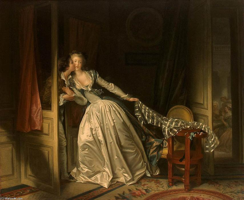 Order Paintings Reproductions | The Stolen Kiss, 1787 by Jean-Honoré Fragonard (1732-1806, France) | WahooArt.com