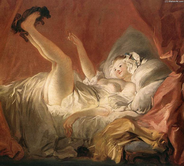 Young Woman Playing with a Dog, 1765 by Jean-Honoré Fragonard (1732-1806, France) | Art Reproductions Jean-Honoré Fragonard | WahooArt.com