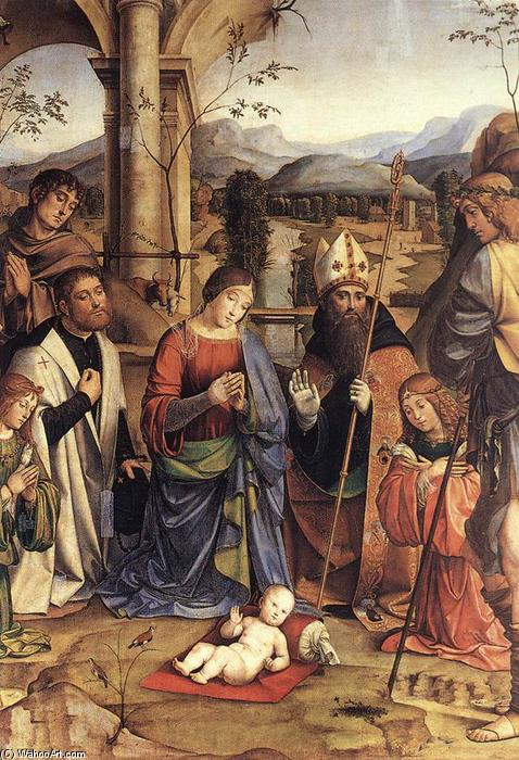 Order Paintings Reproductions | Adoration of the Child (detail), 1498 by Francesco Francia (Francesco Raibolini) (1450-1517, Italy) | WahooArt.com