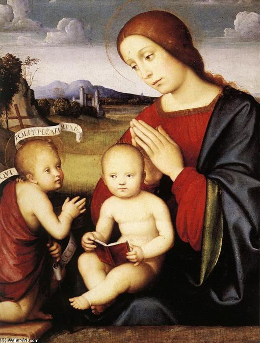 Madonna and Child with the Infant St John the Baptist, 1500 by Francesco Francia (Francesco Raibolini) (1450-1517, Italy) | Oil Painting | WahooArt.com