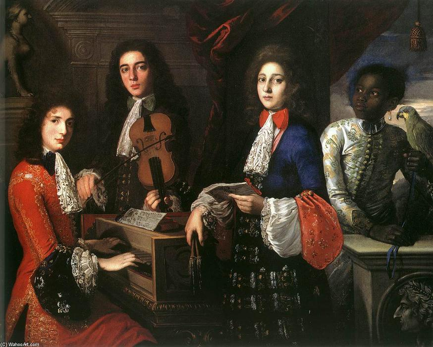 Portrait of Three Musicians of the Medici Court, 1687 by Anton Domenico Gabbiani (1652-1726, Italy) | Painting Copy | WahooArt.com