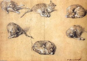 Thomas Gainsborough - Six studies of a cat