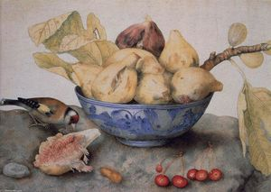Giovanna Garzoni - China Bowl with Figs, a Bird, and Cherries