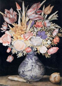 Giovanna Garzoni - Chinese Vase with Flowers, a Fig, and a Bean
