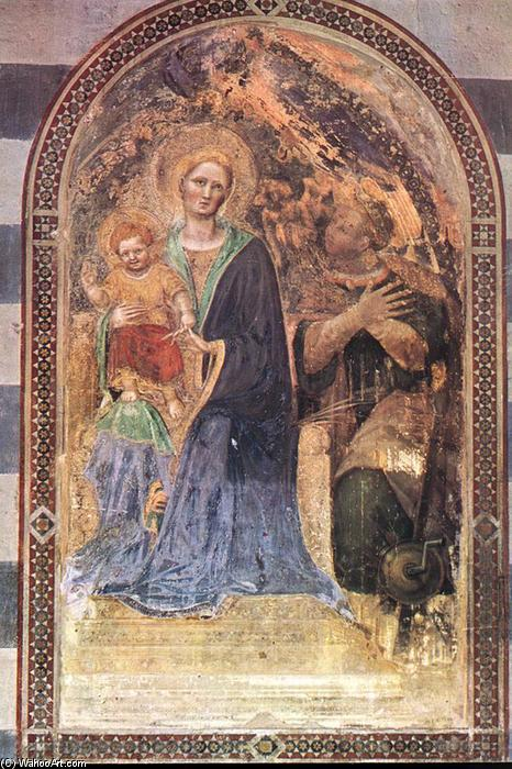 Madonna with the Child, Frescoes by Gentile Da Fabriano (1370-1427, Italy)
