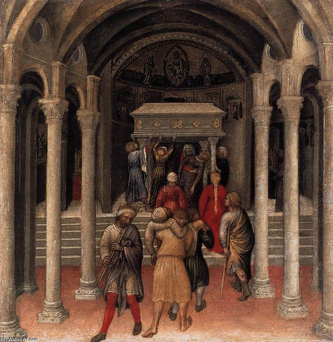 Quaratesi Polyptych: Pilgrims at the Tomb of St Nicholas of Bari, 1425 by Gentile Da Fabriano (1370-1427, Italy) | Famous Paintings Reproductions | WahooArt.com