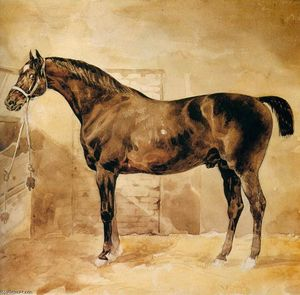 Jean-Louis André Théodore Géricault - English Horse in Stable