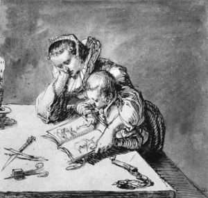 Jacob (Jacques)De Gheyn Ii - Woman and Child looking at a Picture Book